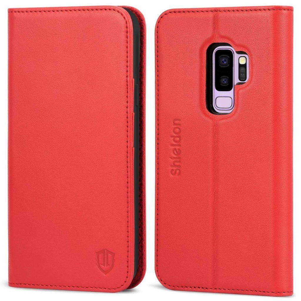 Funda de cuero rojo para Samsung S9